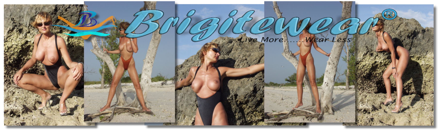 topless bathing suits for women in one piece of bikini bottoms only from Brigitewear and made in California