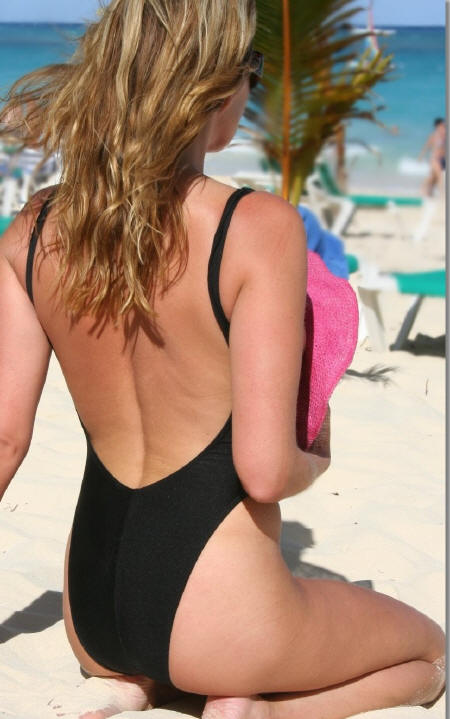 topless one piece swimsuit rio bottom back shot